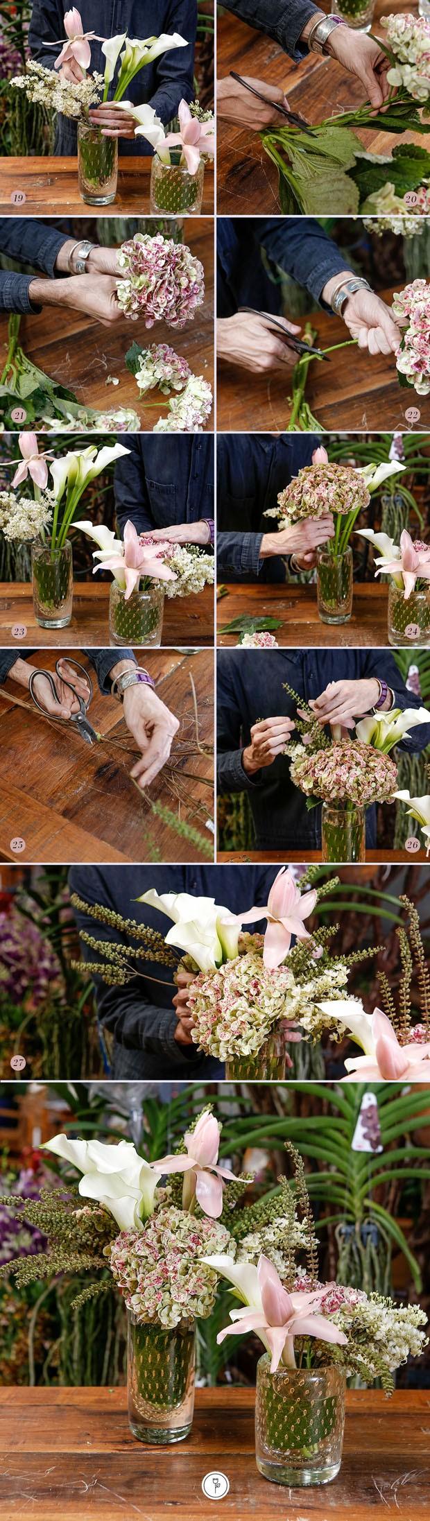 DIY: aprenda a fazer um arranjo de flores com hortênsias e callas (Foto: Julio Acevedo)