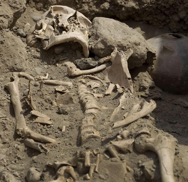 Ossos encontrados por pesquisadores peruanos (Foto: Martin Mejia/AP)