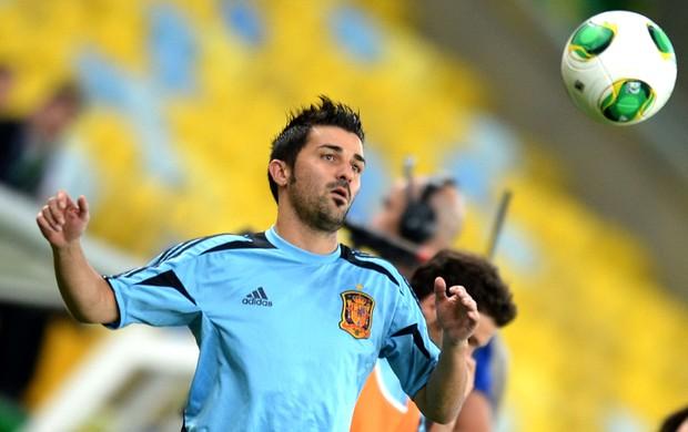 David Villa treino Espanha (Foto: AFP)