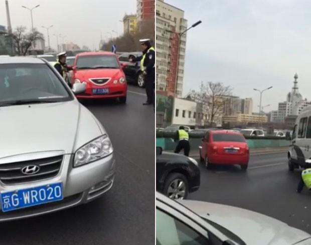 Motorista teve 'dia de fúria' e furou bloqueio policial na China (Foto: Reprodução/YouTube/Steve George)