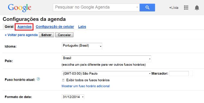 Configurações da agenda do Google (Foto: Reprodução/Lívia Dâmaso)