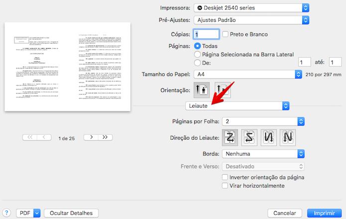 Configurando impressão de duas páginas por folha no Mac (Foto: Reprodução/Helito Bijora)