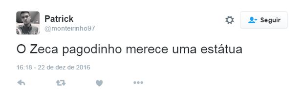 Comentários sobre foto de Zeca Pagodinho (Foto: Reprodução/Twitter)