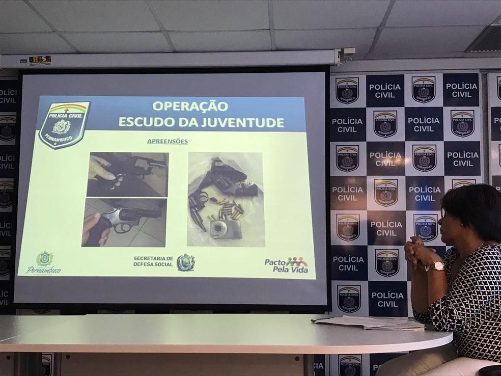 Detalhes da ' Operação Escudo da Juventude' foram apresentados nesta quarta-feira (19), no Recife (Foto: Thays Estarque/G1)