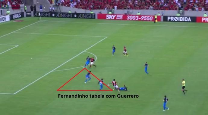 Fernandinho procura Guerrero e recebe de volta. Com mais força e velocidade, ponta cria jogada (Foto: Reprodução)