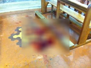 Simone Marca morta a facadas em igreja de Ituiutaba (Foto: Corpo de Bombeiros/Divulgação)