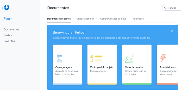 Interface do Dropbox Paper (Foto: Reprodução/Felipe Vinha)