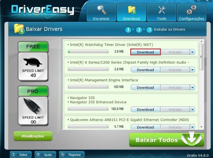 Antes de instalar, é preciso fazer o download do driver. Clique sobre esta opção, em forma de botão azul ativo (Foto: Reprodução / Paulo Finotti)