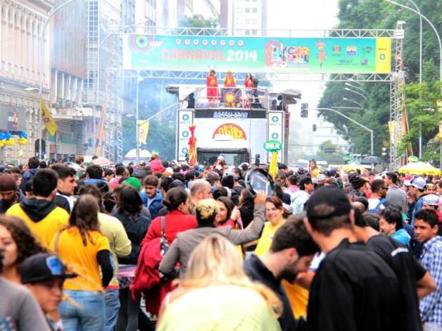Cerca de cinco mil pessoas circularam pela Rua Marechal Deodoro, de acordo com a Fundação Cultural de Curitiba (Foto: Alice Rodrigues /  FCC)