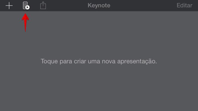 Abra o aplicativo do Keynote no iOS e toque no botão indicado (Foto: Reprodução/Helito Bijora)