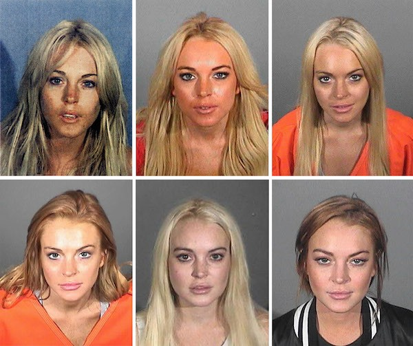 As fotos da atriz Lindsay Lohan feitas pelas autoridades dos Estados Unidos nas seis vezes em que foi presa (Foto: Getty Images)