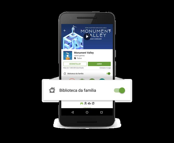 Biblioteca Familiar permite compartilhar aplicativos com até seis pessoas (Foto: Divulgação/Google)