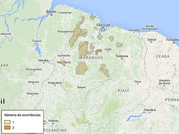 Mapa de arrombamentos a bancos no Maranhão, atualizado nesta terça-feira (5) (Foto: G1)