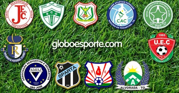 Times da segundona do Tocantins  (Foto: Arte/Globoesporte.com)