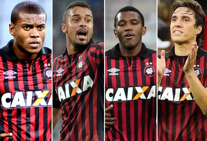 montagem - atlético-pr Cléo, Dellatorre, Douglas Coutinho e Marcelo (Foto: Editoria de Arte)