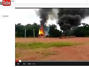 Incêndio provocado no Sul do Amazonas (Foto: Reprodução/Youtube)
