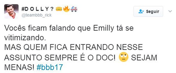 Twitter Emilly chora2 (Foto: Twitter)