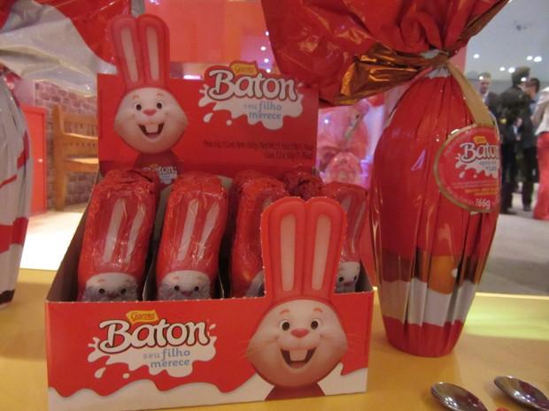 A Garoto trouxe o sucesso da marca Batom e colocou em forma de coelhinho da Páscoa (Foto: Marta Cavallini/G1)