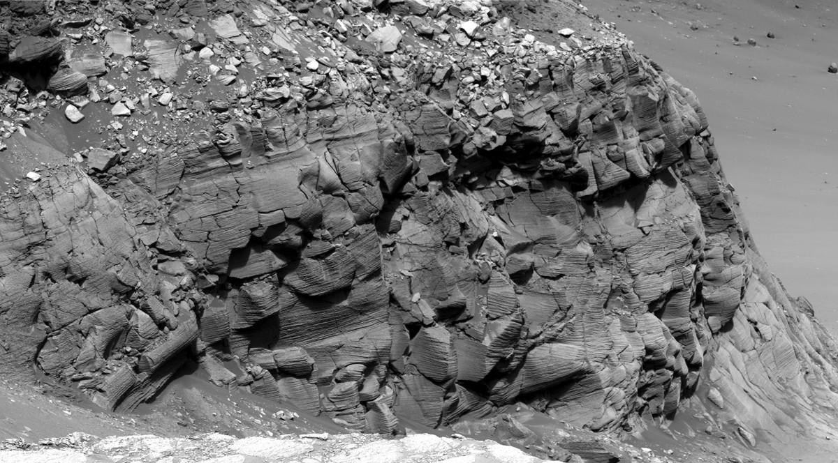 Formação rochosa de Cape St. Mary, com aproximadamente 15 metros de altura (Foto: Divulgação/Nasa)