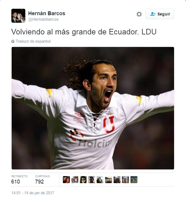 Barcos LDU Twitter (Foto: Reprodução / Twitter)
