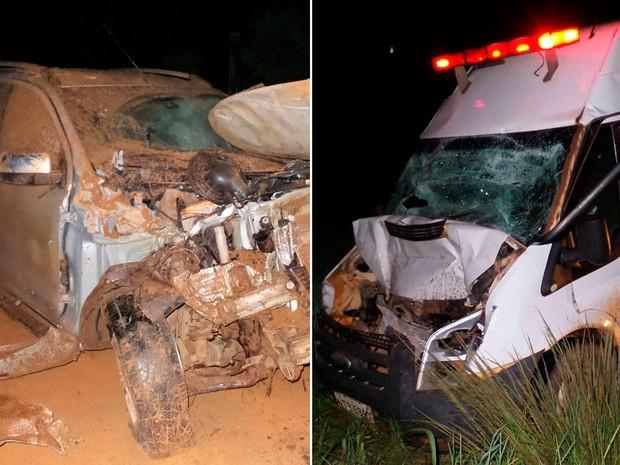 Mulher que estava em ambulância que bateu na BR-020 havia se envolvido em acidente com caminhonete (Foto: Montagem/G1)