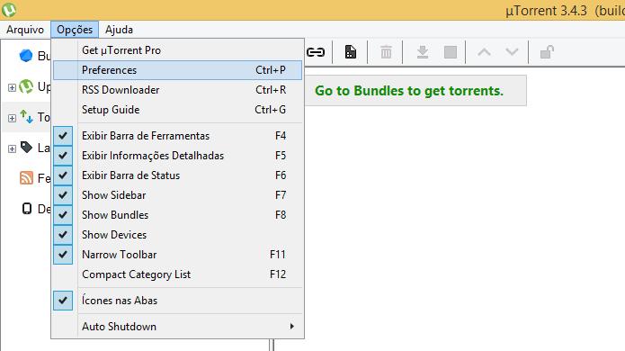 Acesse as configurações do uTorrent (Foto: Reprodução/Helito Bijora)