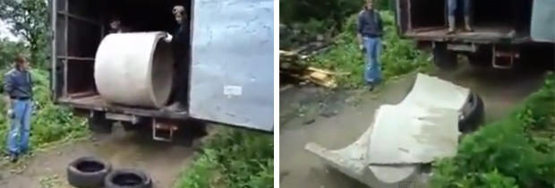 Tentativa de amortecer a queda de cilindro com pneus falhou, e peça acabou destruída (Foto: Reprodução/YouTube/tralliwalle)