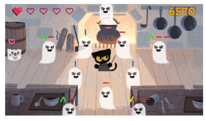 Momo protagoniza o doodle de Halloween (Foto: Reprodução/Felipe Vinha)