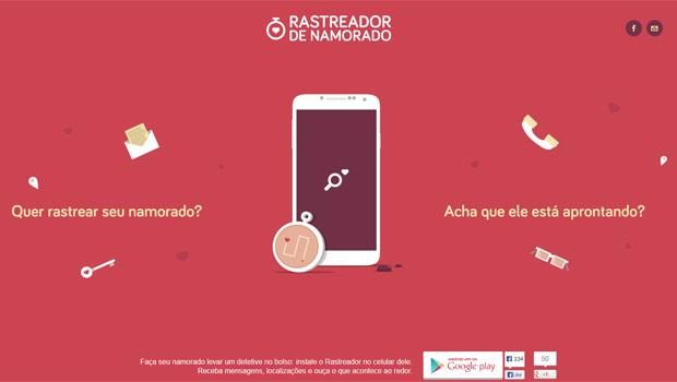 Site do aplicativo 'Rastreador de Namorado' que permite acompanhar atividade de smartphone com Android. (Foto: Reprodução)
