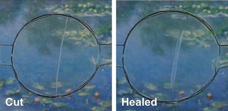 Imagem divulgada pelos pesquisadores mostra, à esq., material quebrado e, à dir., depois de se curar sozinho (Foto: Divulgação)