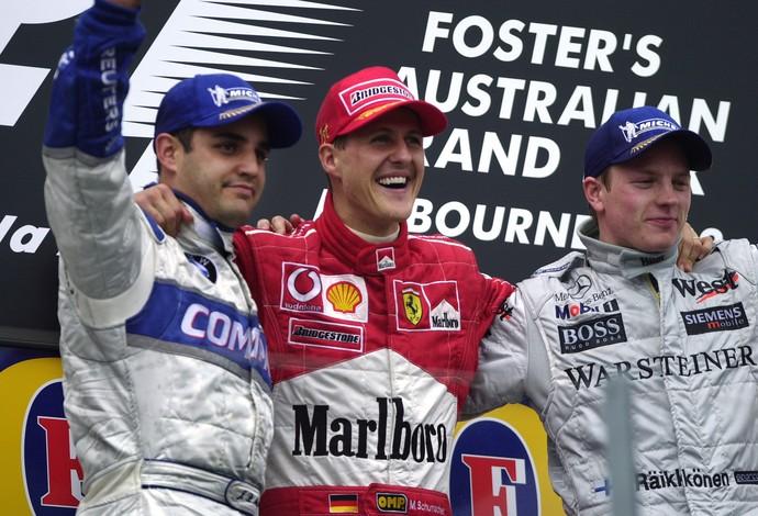 montoya, schumacher e raikkonen gp da austrália 3/3/2002 (Foto: Getty Images)