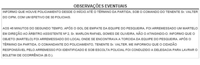 súmula pesqueira x porto-pe (Foto: Divulgação / FPF-PE)