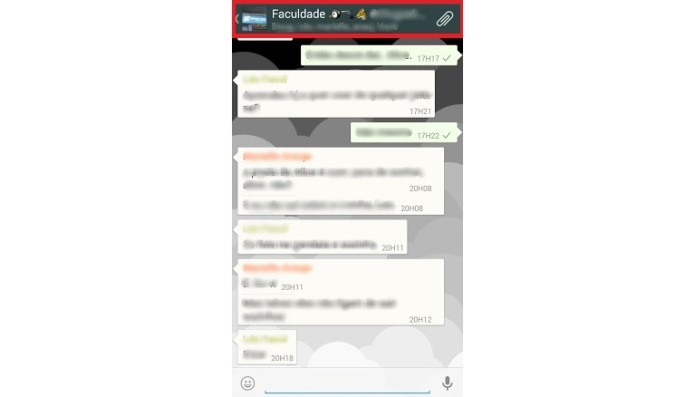 Atalho para as informações do grupo no WhatsApp (Foto: Reprodução/LíviaDâmaso)