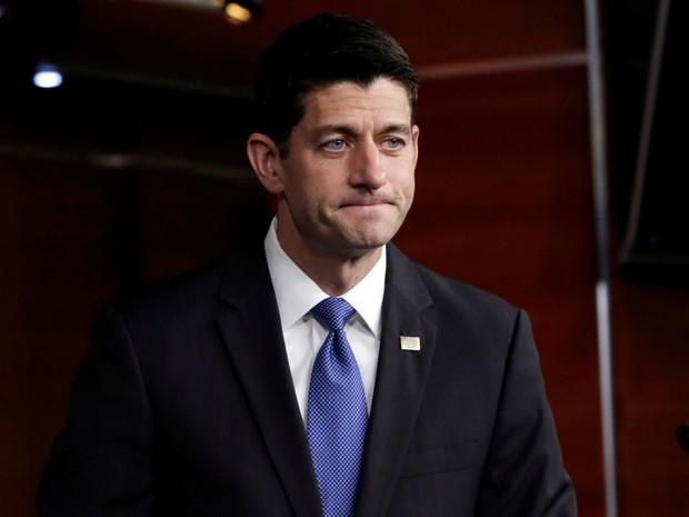 O presidente da Câmara dos EUA, Paul Ryan, após uma entrevista coletiva no Capitólio, em Washington, no dia 22 de setembro (Foto: Reuters/Yuri Gripas)