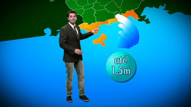Jonas Almeida dá todos os detalhes da previsão do tempo no litoral. (Foto: Reprodução/TV Vanguarda)