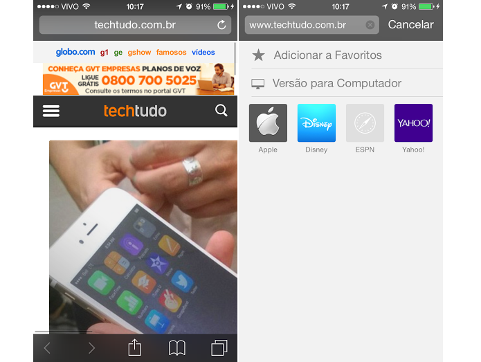 Veja sites como no computador (Foto: Reprodução/Thiago Barros)