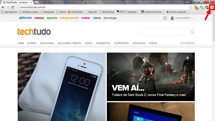 Execute o navegador e aperte sobre o botão em destaque na figura (Foto: Reprodução/Daniel Ribeiro)