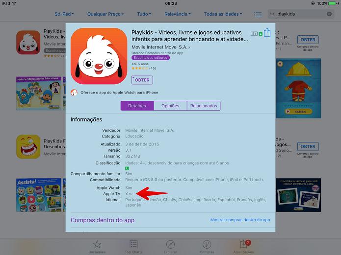Um dos apps já compatíveis com a Apple TV é o PlayKids (Foto: Felipe Alencar/TechTudo)