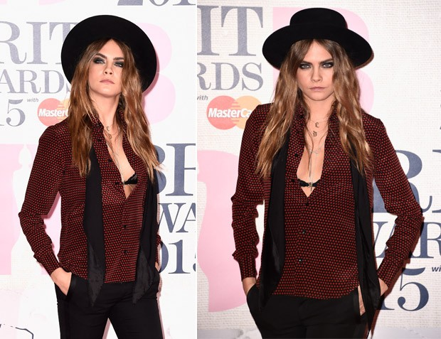 Cara Delevingne no BRIT Awards. (Foto: Getty Images)