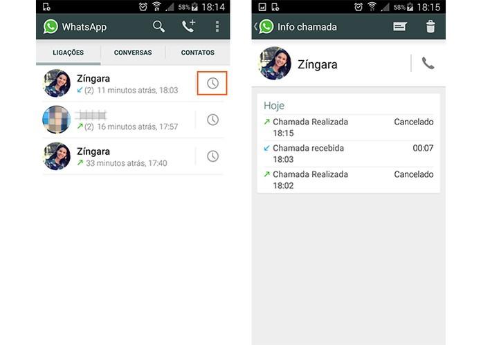 Veja mais informações das chamadas com seus contatos do WhatsApp (Foto: Reprodução/Barbara Mannara)
