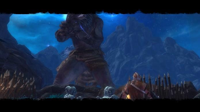 Controlando um guerreiro gigante, o jogador precisa destruir o reinado de terror dos colossais Titans (Foto: Reprodução/Daniel Ribeiro)