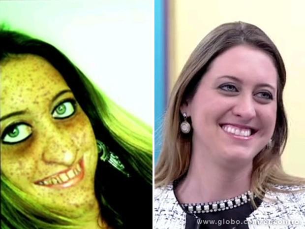 Publicitária criou imagem bizarra para mostrar como se enxergava (Foto: Encontro com Fátima Bernardes/TV Globo)