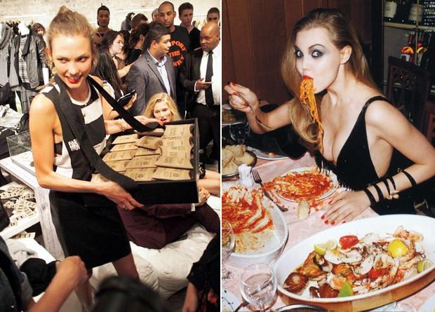Karlie Kloss distribui os cookies que fez em backstage da semana de moda; ao lado Lindsey Wixson em editorial para a Vogue japonesa (Foto: Reprodução)