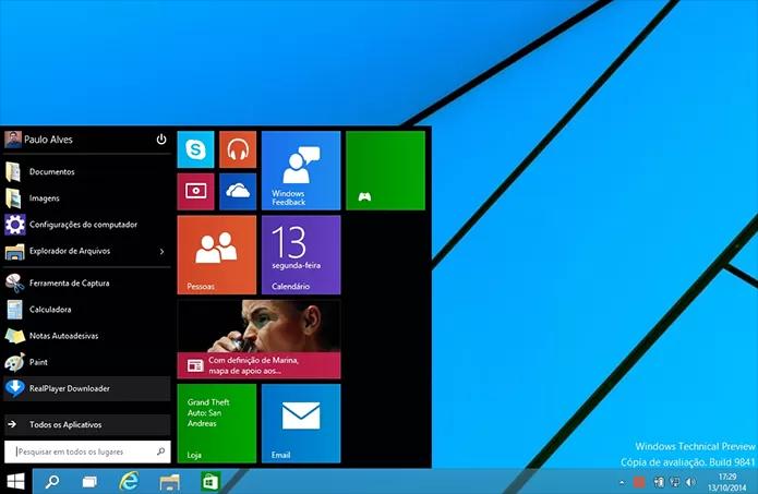 Windows 10 Technical Preview tem muitas novidades no visual (Foto: Paulo Alves/TechTudo)