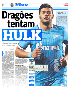 Hulk jornal Porto (Foto: Reprodução)