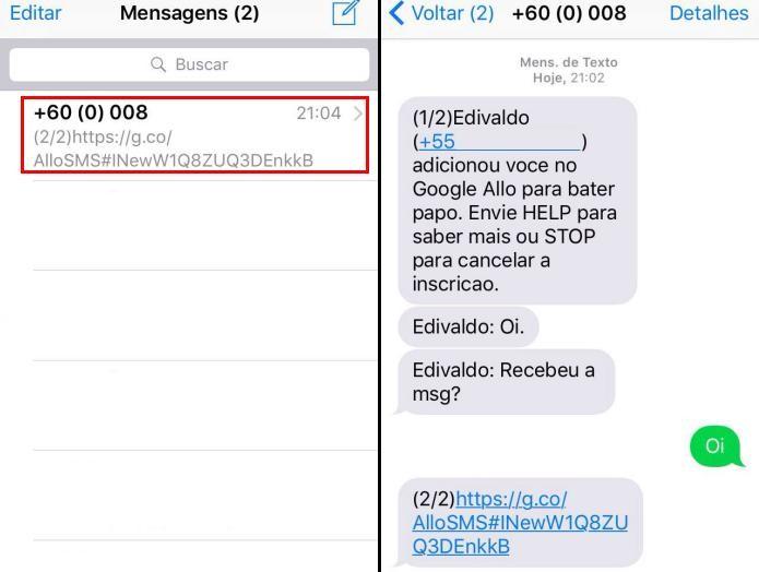 Recebendo as mensagens do Allo via SMS (Foto: Reprodução/Edivaldo Brito)