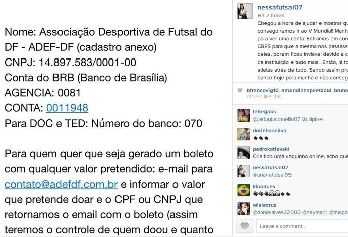 Futsal feminino brasil vaquinha (Foto: Reprodução Instagram)