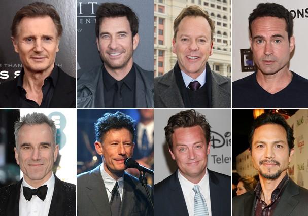 Liam Neeson, Dylan McDermott, Kiefer Sutherland, Jason Patric, Daniel Day-Lewis, Lyle Lovett, Matthew Perry e Benjamin Bratt (Foto: Getty Images)