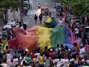 Parada do Orgulho GLBT, em Belo Horizonte.  (Foto: Reprodução/TV Globo)