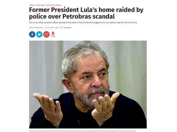 Operação envolvendo Lula é destaque no The Independent (Foto: Reprodução/The Independent)